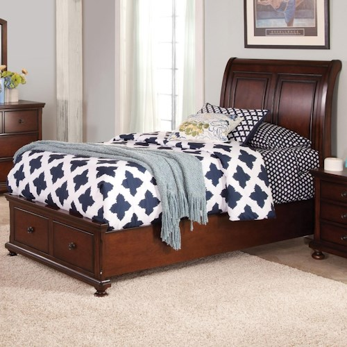 New Classic Jesse Twin Low Profile Storage Bed with Sleigh Style Panel Headboard