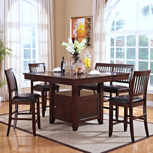 New Classic Kaylee 5 Piece Table Set with Chairs and Bench