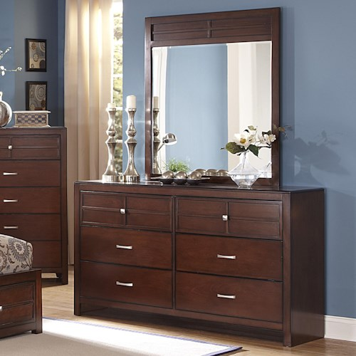 New Classic Kensington 6-Drawer Dresser and Vertical Mirror Set