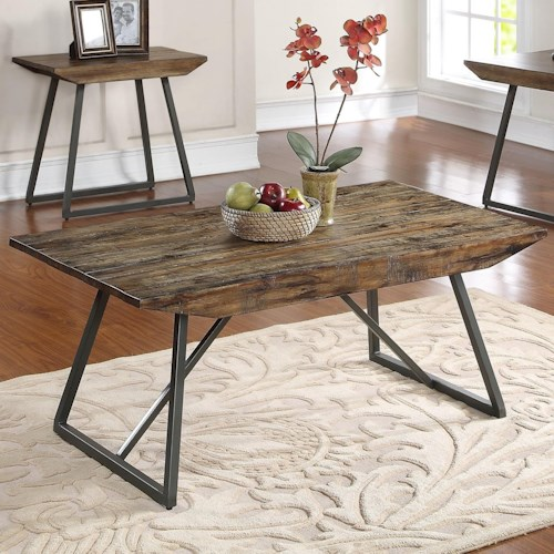 New Classic Keystone Cocktail Table with Plank Style Top