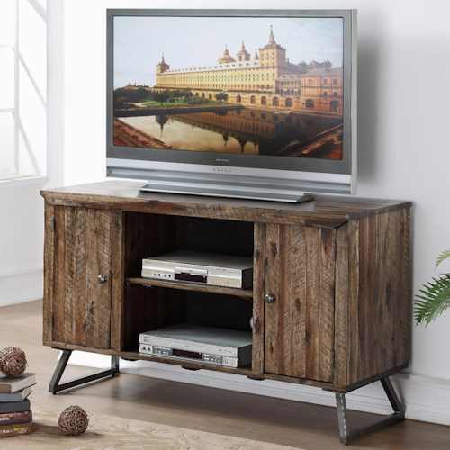 New Classic Keystone Entertainment Console with Plank Style Wood Top and Doors