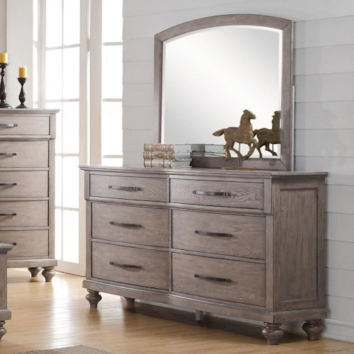 New Classic La Jolla Six Drawer Dresser and Arched Mirror Set