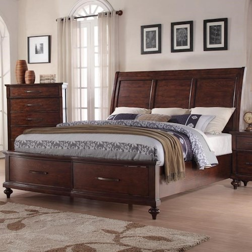 New Classic La Jolla California King Storage Bed with Panel Headboard