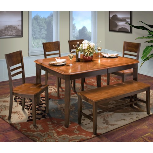 New Classic Latitudes 6 Piece Dining Set with Bench