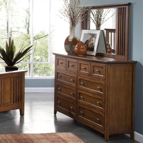 New Classic Logan Ten-Drawer Dresser and Mirror Set