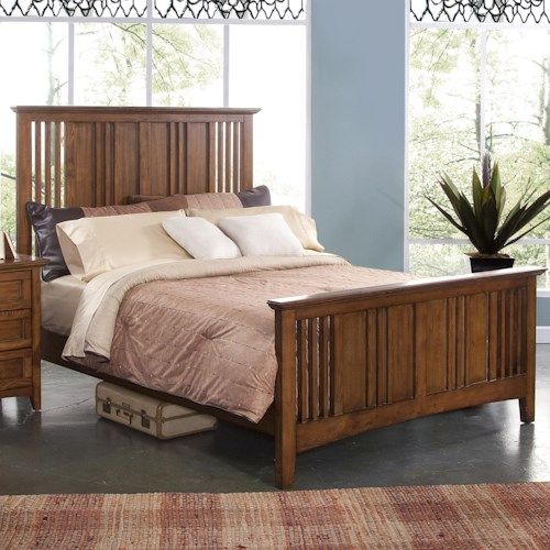 New Classic Logan Queen Size Panel Bed with Slatted Headboard and Footboard