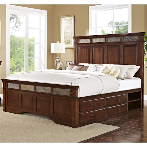 New Classic Madera  Queen Bed with Slate Inserts and Storage