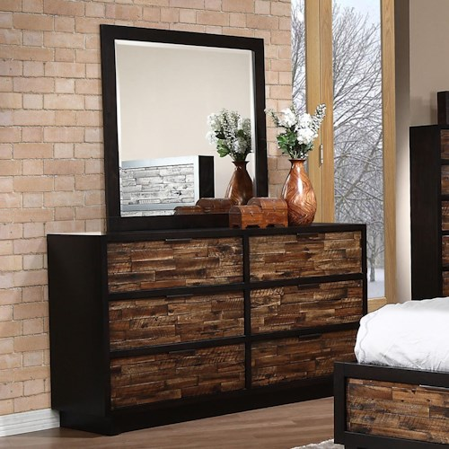 New Classic Makeeda 6 Drawer Dresser and Mirror Set