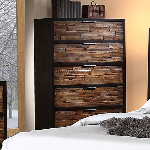 New Classic Makeeda 5 Drawer Chest with Rustic Drawer Fronts