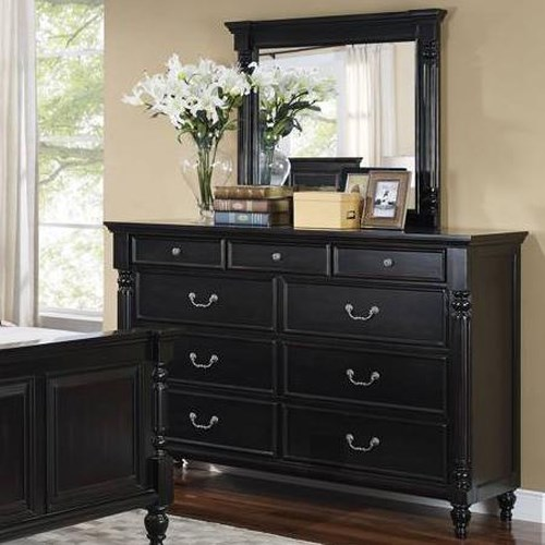 New Classic Martinique Bedroom Transitional 9 Drawer Dresser and Framed Mirror