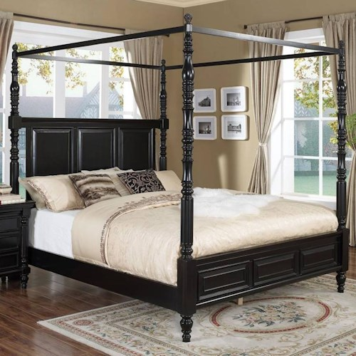 New Classic Martinique Bedroom Transitional California King Canopy Bed