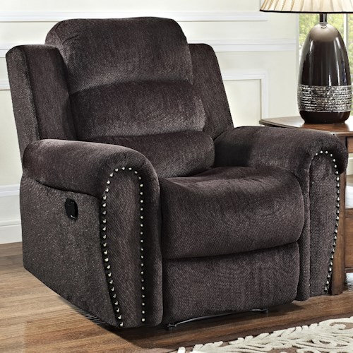 New Classic Merritt Casual Glider Recliner with Nailhead Trim on Rolled Arms