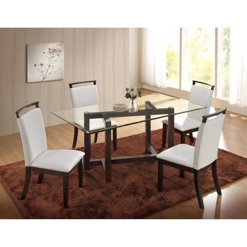New Classic Natasha 5 Piece Glass Top Dining Table and Boris Side Chair Set
