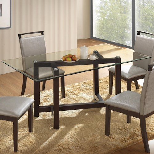 New Classic Natasha Glass Top Dining Table with Contemporary Styled Wood Base
