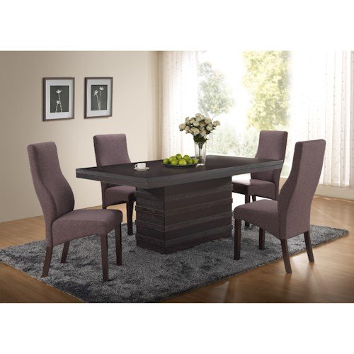 New Classic Natasha 5 Piece Boris Dining Table and Natasha Side Chair Set