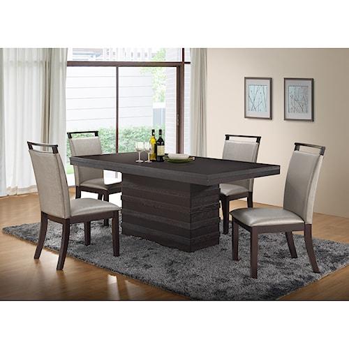 New Classic Natasha 5 Piece Boris Dining Table and Boris Side Chair Set