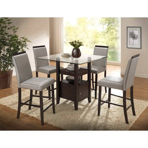 New Classic Natasha 5 Piece Counter Table and Boris Parson Counter Stool Set