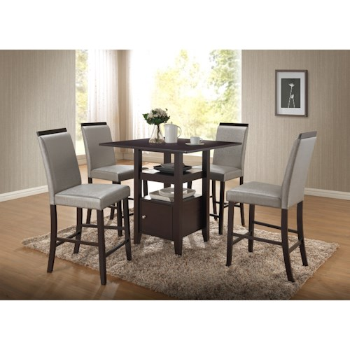 New Classic Natasha 5 Piece Wood Counter Table and Boris Parson Counter Stool Set