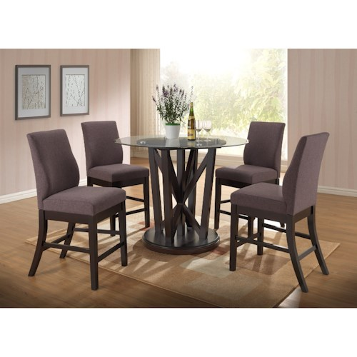 New Classic Natasha 5 Piece Round Counter Table and Natasha Counter Chair Set