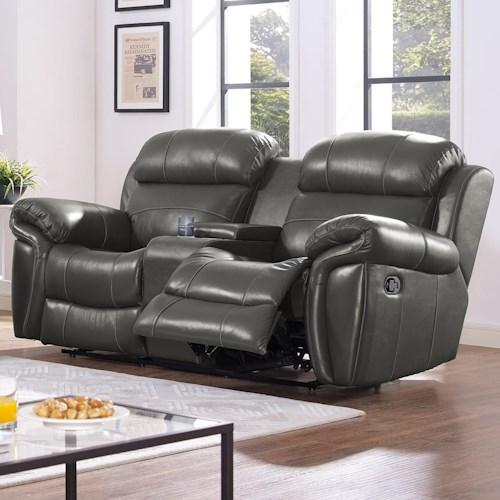New Classic Paloma Casual Power Console Loveseat with Cup Holders