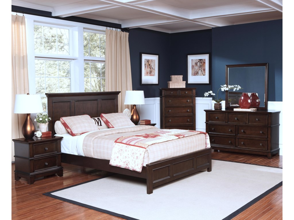 Shown in Room Setting with Nightstand, Bed, Chest and Dresser