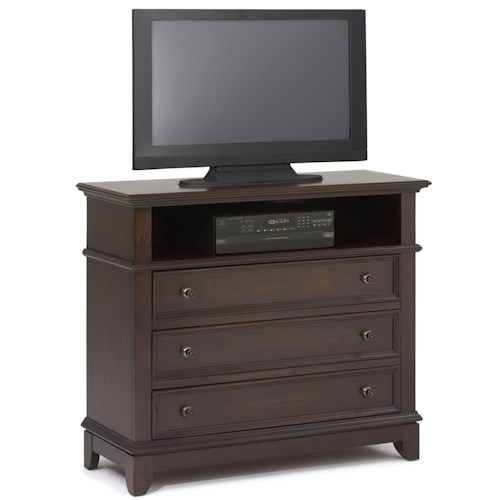 New Classic Prescott Three Drawer Media Chest with Open Compartment