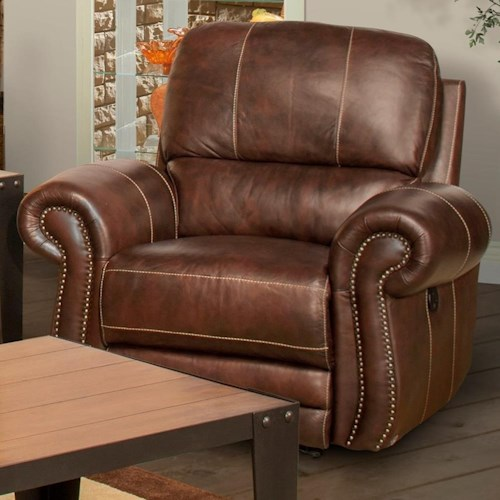 New Classic Rossi Traditional Power Recliner with Panel Rolled Arms and Nailhead Trim