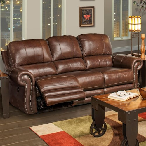 New Classic Rossi Traditional Dual Recliner Sofa with Full Chaise Cushion