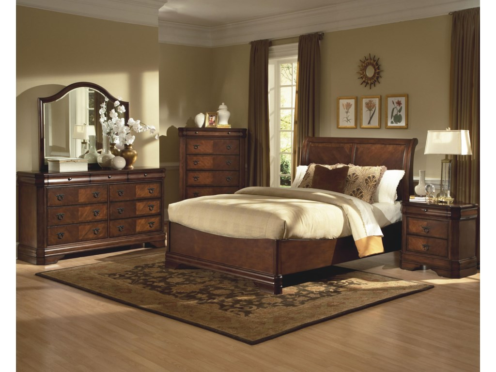 Shown in Room Setting with Dresser, Chest, Bed and NIghtstand
