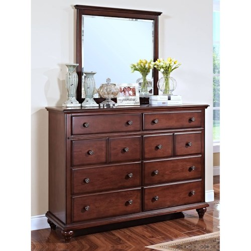 New Classic Spring Creek Eight Drawer Dresser and Mirror with Moulded Top Edges