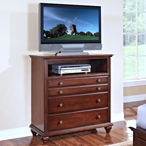 New Classic Spring Creek Three Drawer Media Chest with Open Compartment