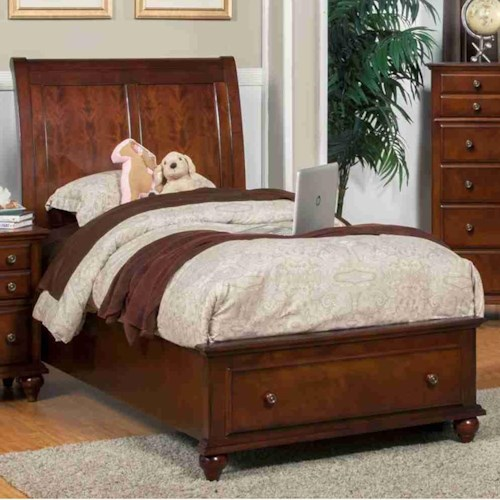 New Classic Spring Creek Twin Low Profile Storage Bed with Sleigh Style Headboard
