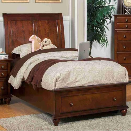 New Classic Spring Creek Full Low Profile Storage Bed with Sleigh Style Headboard