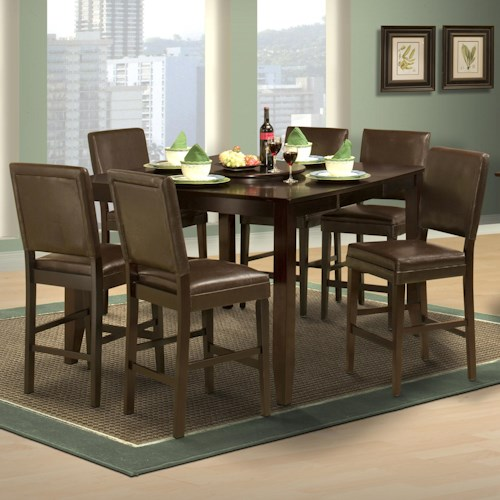 New Classic Style 19 7 Piece Counter Height Table and Upholstered Chair Set