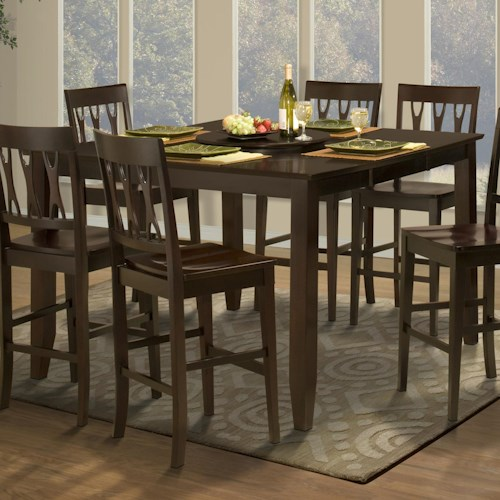 New Classic Style 19 Counter Height Dining Table with Optional Leaf