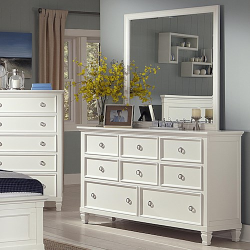 New Classic Tamarack 8-Drawer Dresser and Square Mirror Set