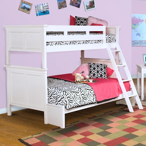 New Classic Tamarack Twin-over-Full Bunk Bed with Paneled Headboard and Footboard