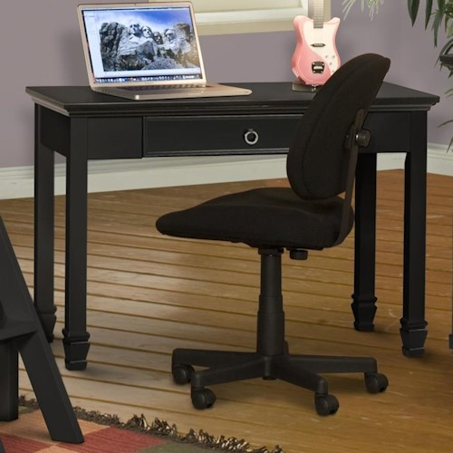 New Classic Tamarack One Drawer Table Desk with Carved Tapered Legs