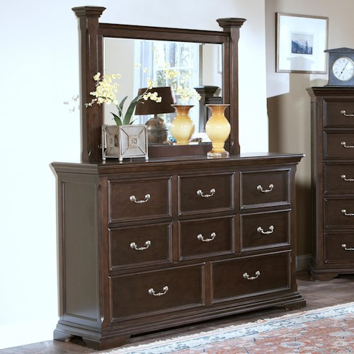 New Classic Timber City 8 Drawer Dresser and Landscape Mirror Set
