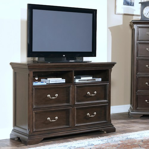 New Classic Timber City Four Drawer Media Chest with Component Shelves