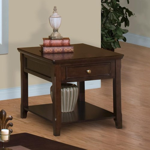 New Classic Timber City Drawer End Table with Open Storage