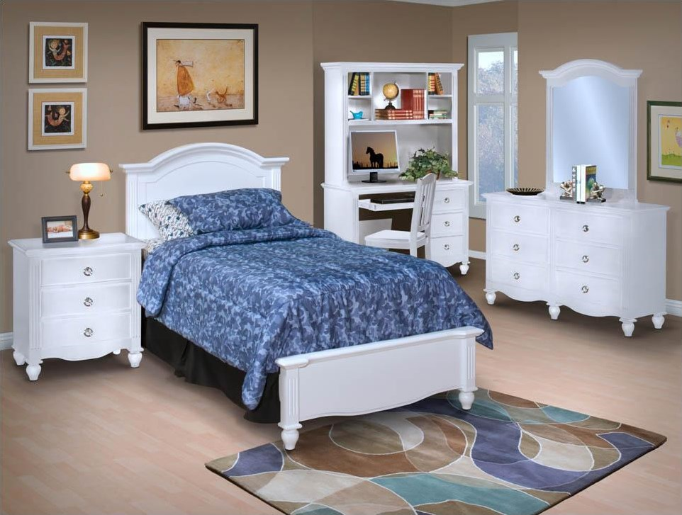 Dresser and Mirror Combination Shown With Desk, Hutch, Bed, and Night Stand