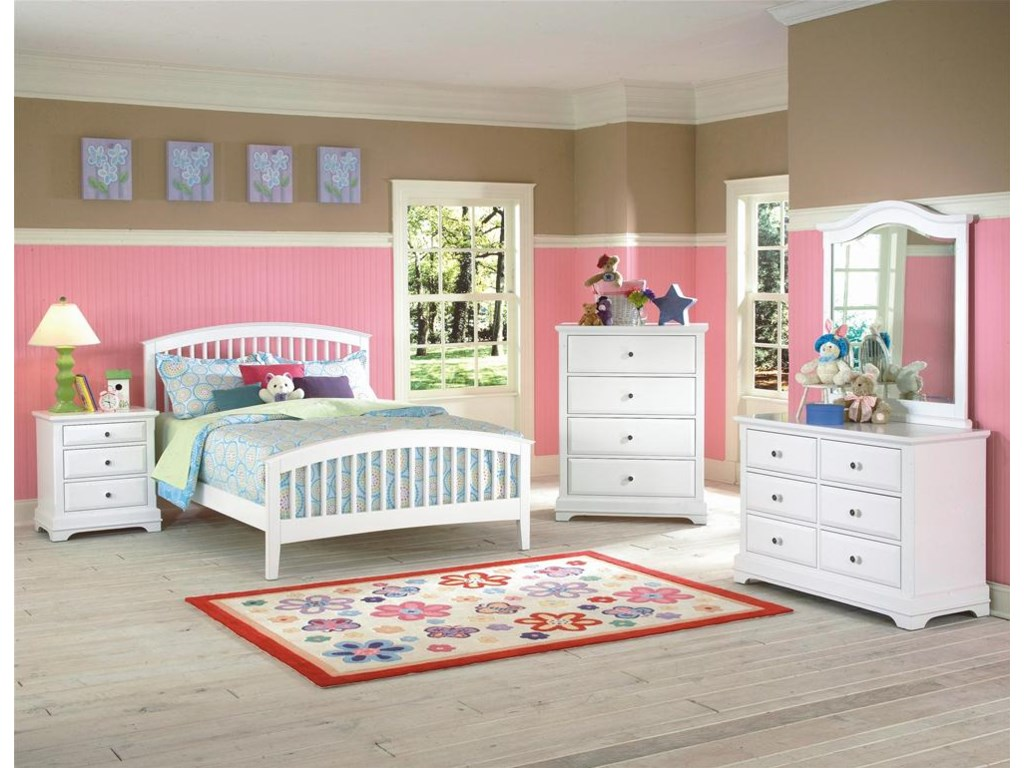 Nightstand Shown with Slat Bed, Chest, Dresser and Mirror.