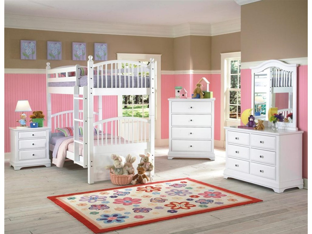 Spindle Bunk Bed Shown with Nightstand, Chest, Dresser and Mirror.