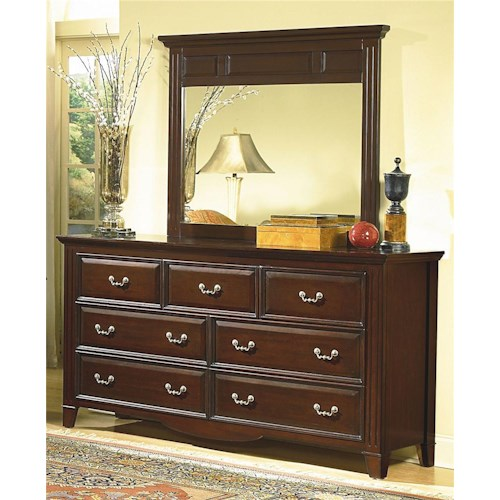 New Classic Drayton Hall Landscape Mirror with Seven Drawer Dresser