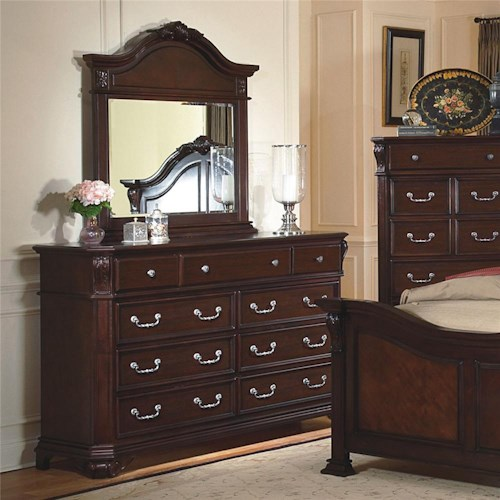 New Classic Emilie Drawer Dresser & Mirror w/ Decorative Pediment Set