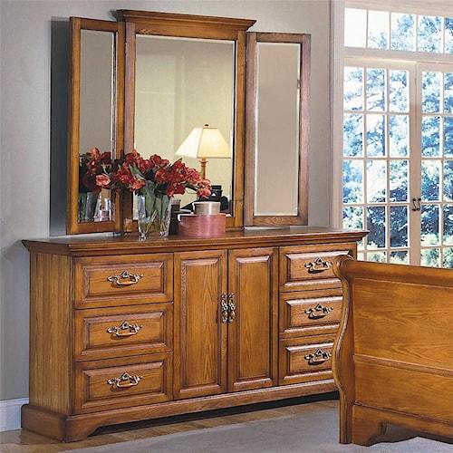 New Classic Honey Creek (6) Drawer Dresser & Wing Mirror Set