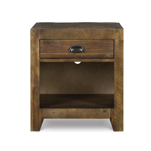 Next Generation by Magnussen Braxton Casual Rustic Open Nightstand with Nightlight and Charging Station