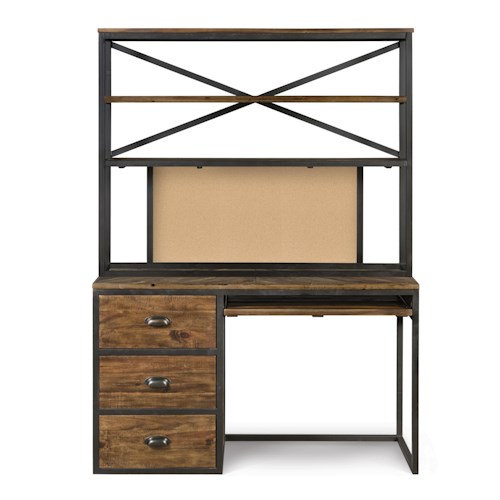 Next Generation by Magnussen Braxton Causal Rustic Computer Desk with Three Shelf Hutch and Corkboard