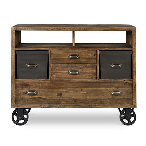 Next Generation by Magnussen Braxton Casual Media Chest with Removable Storage Boxes and Rustic Metal Casters